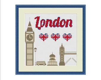 London cross stitch, Travel cross stitch, Counted cross stitch, Big Ben, Tower bridge, London bus, UK flag, Love London, Cross stitch PDF