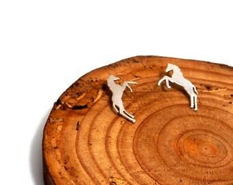 Horse earrings.Silver horse.Foals jewelry.Horse jewelry.Cowgirl jewelry.Wild horses jewelry.Rodeo horses jewelry.Rodeo queen.Bucking horse
