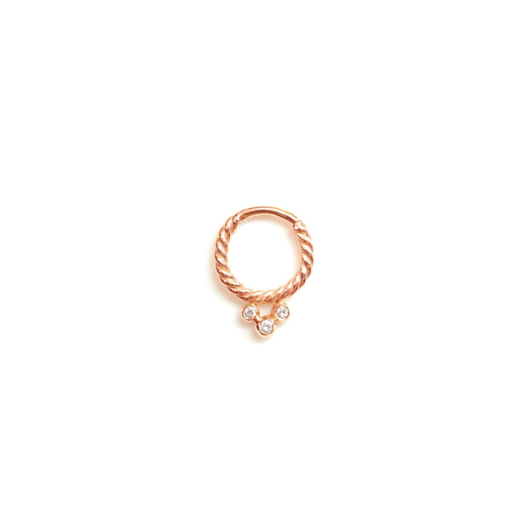 14k gold 3 septum ring genuine diamonds solid