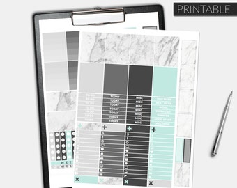 Mint + Marble - Printable Planner Stickers Kit - Minimal Planner Stickers - Erin Condren Weekly Life Planner Stickers