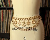1990s chain belt . nautical theme belt . anchor belt . womens belt, 90s gold chain fashion belt, double chain . ONE SIZE