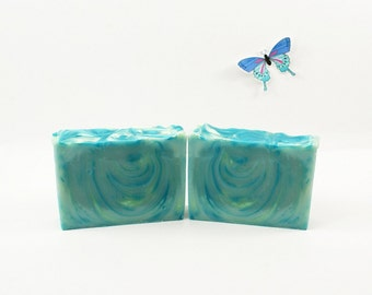 Blue Butterfly Soap | Vegan Soap, Cold Process Soap, Blue Soap, Fun Soap, Uplifting, Floral, Girlfriend Gift, Gift Idea for Friend