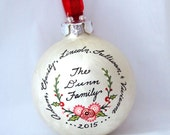 Holiday Floral and Holly Ornament - Personalized Family Ornament