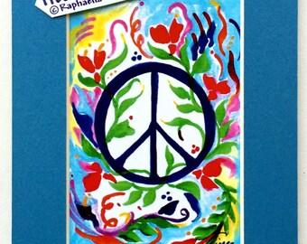 PEACE SIGN 5x7 Inspirational Motivational College Dorm Print 1970's Hippie Symbol Family Friends Gift Heartful Art by Raphaella Vaisseau