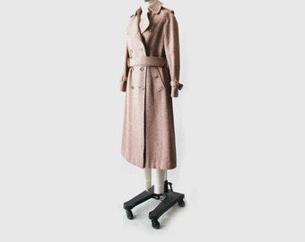Vintage Burberrys Tweed Wool Brown Trench Coat