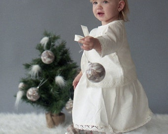 Flower girl  outfit - Girl ivory dress, jacket, headband, tote bag - Linen girl dress Girl jacket Girl lace headband - Girl linen costume