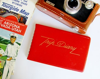 Vintage Journal Trip Diary Mid-Century Travel Ephemera Red Spiral Bound Blank Unused Eaton's Paper Corp.