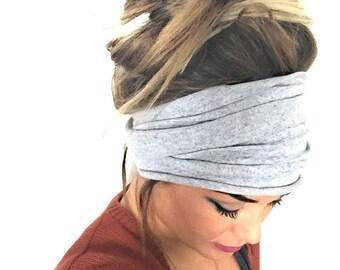 Gray Scrunch Headband, Extra Wide Headband, Jersey Headband, Extra Wide Jersey Headband, Boho Headband, Boho head wrap (women, teen girls)