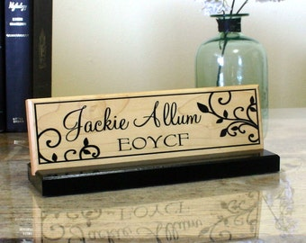 Desk Name Plate Personalized Desk Name Sign Unique Wood Desk Plaque Hand Painted Solid Maple  Office Desk Sign