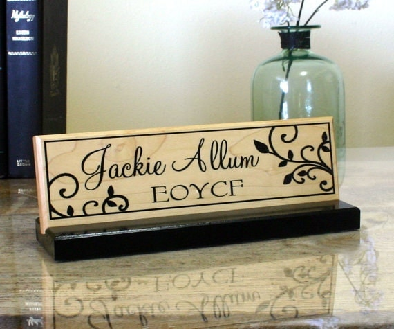 Desk Name Plate Personalized Desk Name Sign Unique Wood Desk