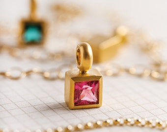 Women's simple pink tourmaline necklace pink quartz facet pendant gold small 22k gold natural fuchsia pink October birthstone