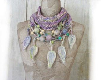 Pastel knit infinity scarf , felt wool necklace , Art Boho loop , Hand Knitted wrap , pink  lilac  , Bohemian clothing , Gypsy  freestyle