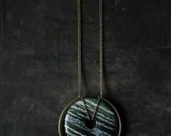 Emerald Necklace gold chunky emerald pendant emerald jewelry long statement necklace modern jasper necklace Geometric necklace boho jewelry