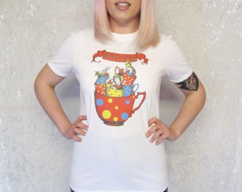 Mad Hatter Tea Party Tshirt Teapot Alice in Wonderland Cute Womens Tee Fairytale Fantasy Gift