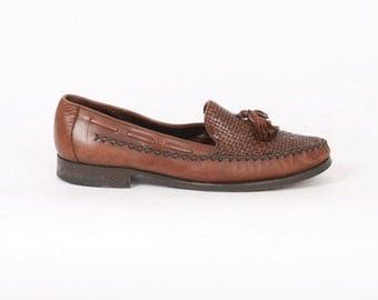 COLE HAAN Womens 8.5 US 9 B Brown Woven Leather Slip On Loafers Tassel Moccasin Vintage Flats Boat Shoes