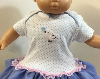 "15 inch Bitty Baby Clothes, Baby ""Pink BIRD with HEART"" Ruffle & Lace Trim Dress, 15 inch Bitty Baby, Fits 16 Inch Cabbage Patch Kids"