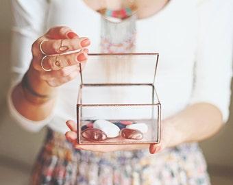 Glass Jewelry Box, Makeup Tray, Girlfriend Gift, Ring Dish, Bedroom Decor, Small Keepsake Box, Rose Gold Home Decor, Copper Jewelry Storage