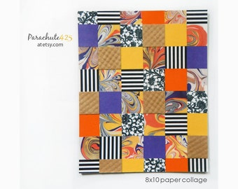 Collage Art, recycled paper, mosaic, bright colors, purple yellow orange, collage wall art, unique home decor, accent art, geometric art