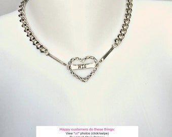 BDSM Day Collar His or Hers TWISTED HEART Engraved Necklace for Submissive with 316L Stainless Steel Chain Locking or Lobster Clasp Closure