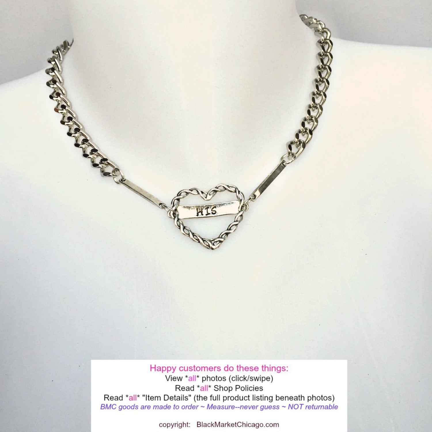 BDSM Day Collar His or Hers TWISTED HEART Engraved Necklace