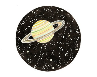 Original watercolor painting Saturn planet Galaxy Space art home decor Stars universe moon solar system