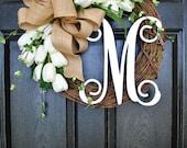 BEST SELLER! White Tulip Wreath. Grapevine Wreath. Year Round Wreath. Spring Wreath. Summer Wreath. Monogram Wreath. Door Wreath.