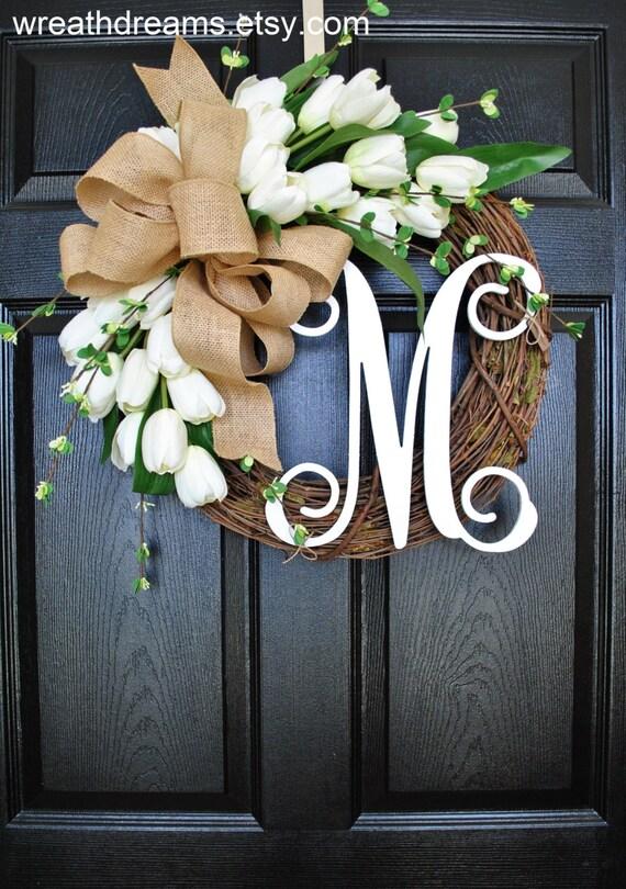 Best Seller White Tulip Wreath Grapevine Wreath Year Round