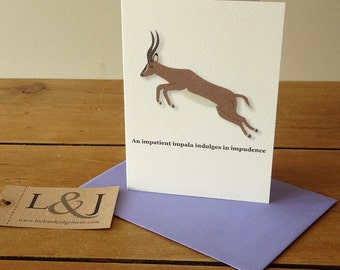 Impala card, animal alphabet, alphabet cards, wildlife, cards for kids, gazelle, funny animals, antelope, illustration, safari animals