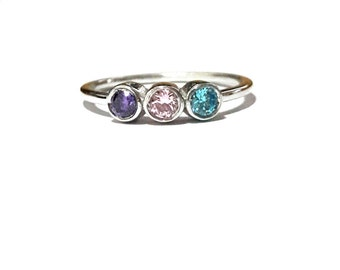 Birthstone Ring-Mothers Ring-Personalized Family Ring-Family Ring-Handmade Mothers Ring