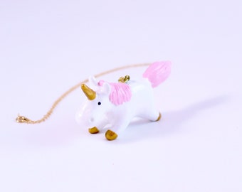 Whimsical Unicorn Necklace with Gold Horn and Hooves and Light Pink Mane and Tail Great For Mothers Day or Girlfriend Gift Under 50