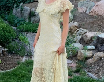 20s Art Deco Lace Dress, 1920s Vintage Dress, 20s Wedding Dress, Garden Party Dress, Downton Abbey, Old Hollywood, Authentic 20s Stunner!