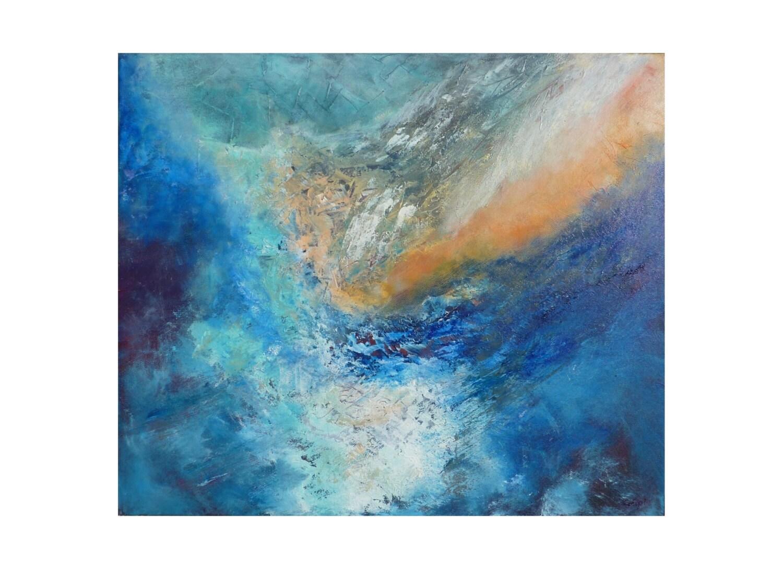 Tableau peinture bleu turquoise blanc original paysage - Tableau bleu turquoise ...