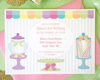 Candy shoppe invitation, candy land birthday, sweet shop birthday party, girls birthday party, 1st birthday invitation, sweet tooth party