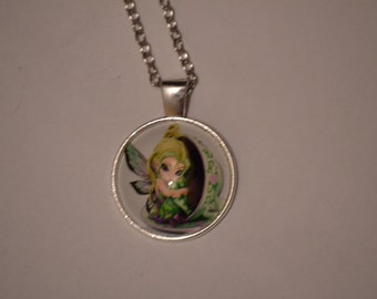 Tea Fairy Cabochon Glass Silver Chain Pendant Necklace