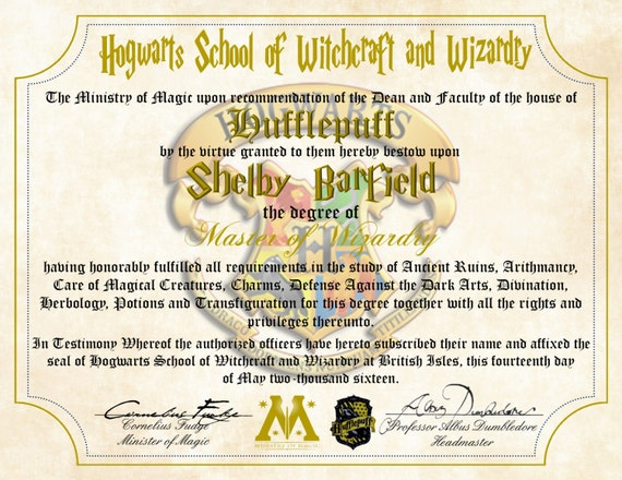Personalized harry potter diploma hufflepuff hogwarts for Hogwarts diploma template