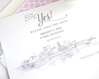 St Paul Wedding Save the Date Cards, Save the Dates, Minnesota Skyline Hand Drawn (set of 25 cards)