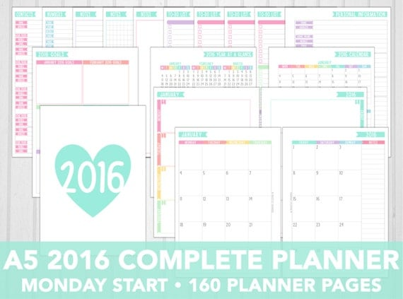 Printable A5 Weekly Planner Inserts 2016 | Calendar Template 2016