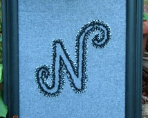 Handmade Embroidered Initial - framed-  *Made To Order*