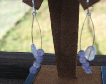 hand made sterling silver earrings with labradorite and rose quartz