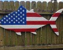 Patriotic Tuna large wood Wall Art