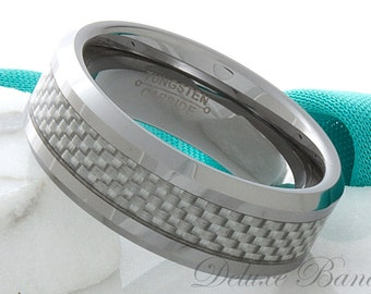 Grey Carbon Fiber Inlay Ring,Carbon Fiber Inlay Tungsten Wedding Band,Beveled Edges,Grey Carbon Fiber Inlay,Tungsten Anniversary Ring,
