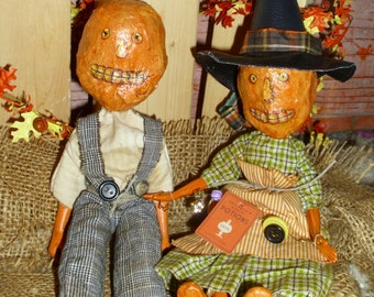 """Primitive Pumpkin Dolls """"Lottie"""" and """"Judd"""" OR """" Emma Lee"""" and """"Roger"""" Halloween Decoration Fall Accessory"""
