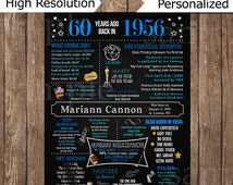60th Birthday Chalkboard, 1956 Chalkboard Poster, 60 Years Ago back in 1956, 60th Birthday Gift, men woman
