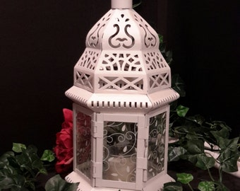 White Moroccan Metal Lantern, Party Lighting, Garden Lights, Evening Wedding Decor, Garden Candles