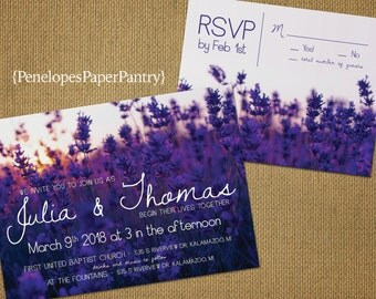 Rustic Purple Wedding Invitations,Field of Purple Lavender,Sunset Sky,Summer,Printed Invitations,Opt RSVP Card,Customizable With Envelopes