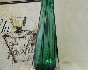Exquisite Vintage Green Crystal Glass Tall Square Vase,VB7114