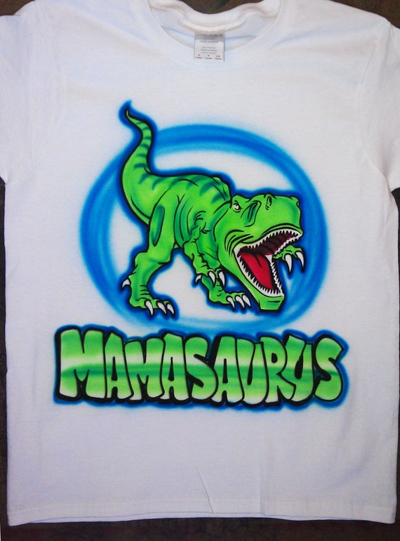 Airbrushed t rex dinosaur custom t shirt baby bodysuit for Custom made airbrushed shirts