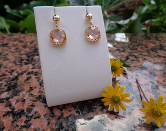 585 gold filled, gold Stud Earrings, peach crystal glass