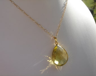 Goldfilled 585, sparkling lemon quartz necklace. A dream!