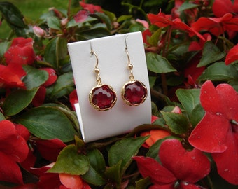 Gold Earrings, red, crystal glass, 585 goldfilled